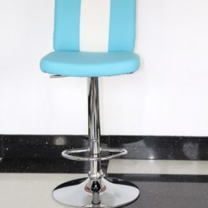 Bostony Retro Style Kitchen Breakfast Bar Stool American Diner Style Blue Padded Seat Height Adjustable