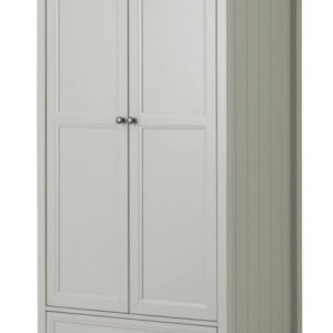 Viyella Dove Grey 2 Door Wardrobe With Drawer Stone Lacquered Finish