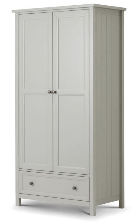 Viyella Dove Grey 2 Door Wardrobe With Drawer Stone Lacquered Finish