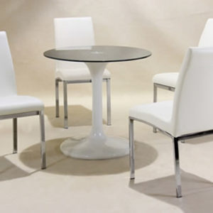 Jonah Chrome And Glass Round Table And 4 Chairs Retro Style Table