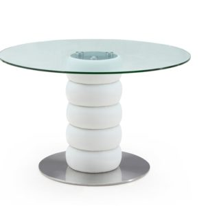 Worringtone Modern Round Clear Glass Kitchen Dining Table