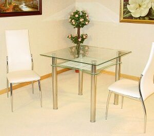 Hal Clear Glass Square Kitchen Dining Table With 2 Chairs