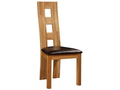 Wasa High Back Dining Chair - Oak Frame Pvc Padded Seat