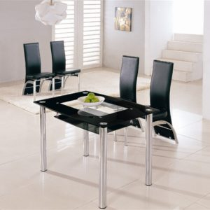 Lass Rectangle Glass Kitchen Dining Table With 4 Chairs