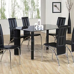Paulo Black Glass And Chrome Dining Set With 6 Chairs