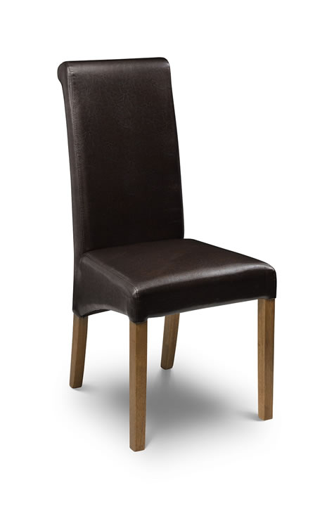 Wanda Dining Kitchen Padded Chair Oak Frame Brown Pvc Seat Fully Assembled