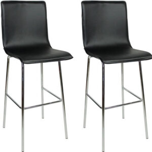 Pair Gilling Chrome And Padded Kitchen Breakfast Bar Stools Fixed Height Various Colours 4 Legs Chrome Frame