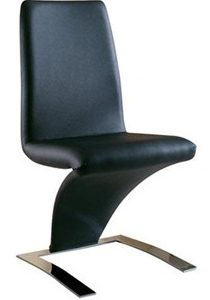 Zorro Z Shaped Dining Chair Black Padded Seat
