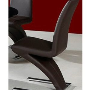 Zorro Z Shaped Dining Chair Brown Padded Seat