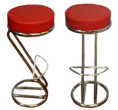Z Shaped Red Padded Seat Kitchen Breakfast Bar Stool Chrome Frame