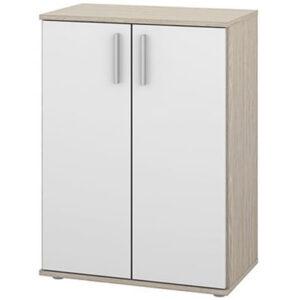 Wave 2 Door Storage Cupboard Cabinet - Oak White