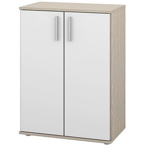Wave 2 Door Storage Cupboard Cabinet - Oak White