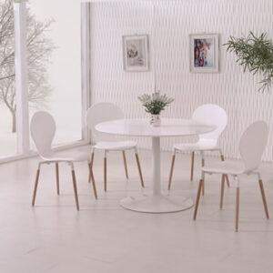 Delt Modern White Matt Round Kitchen Dining Table Set - Various Colours