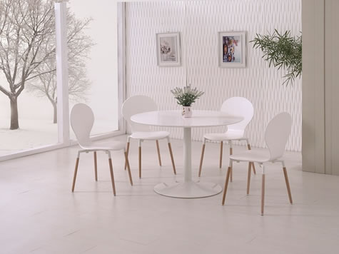 Delt Modern White Matt Round Kitchen Dining Table Set - Various Colours