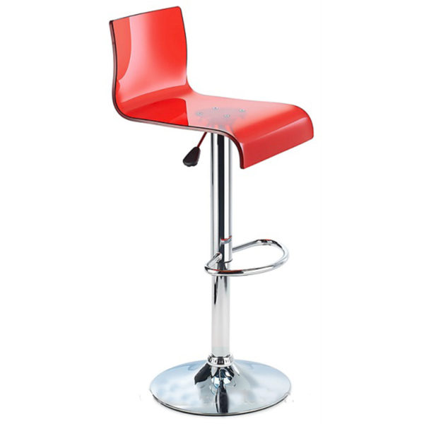Snazzy Adjustable Acrylic Kitchen Bar Stool Red