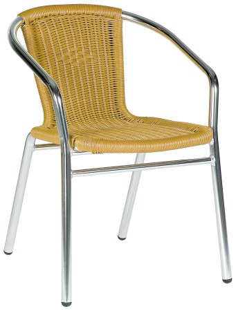 Acfa Aluminium And Beige Weave Stacking Chair - Outdoor