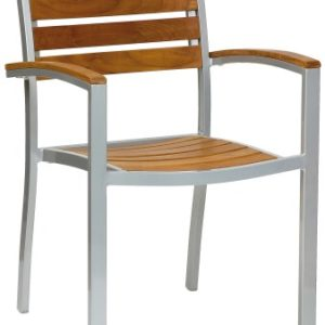 Acfa Aluminium And Teak Armchair