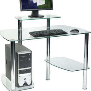 Aca Glass Workstation Office Desk Chrome Frame