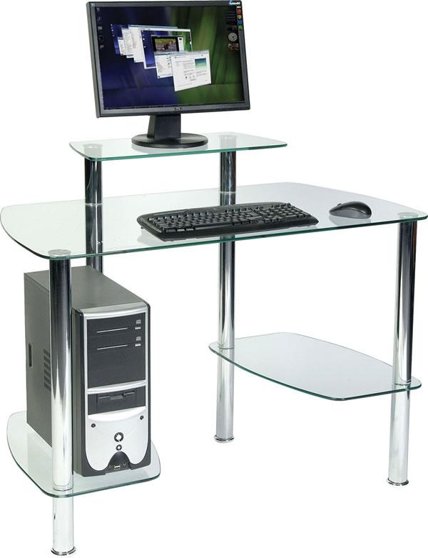 Aca Glass Workstation Office Desk Chrome Frame
