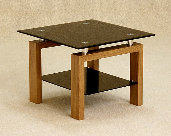 Asrinto Black Or Clear Glass And Oak Lamp Table