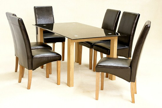 Asrinto Large Oak And Glass Dining Kitchen Table Set And Chairs