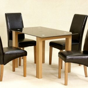 Asrinto Small Oak And Clear Or Black Glass Dining Kitchen Table Set