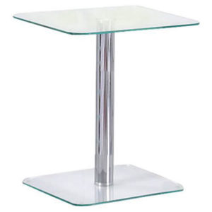 Mario Metal And Glass Side End Pedestal Laptop Table