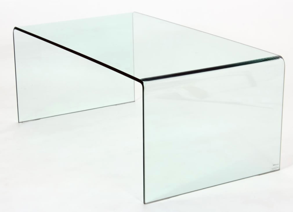 Anckor Clear Class Modern Coffee Table Curved Edges