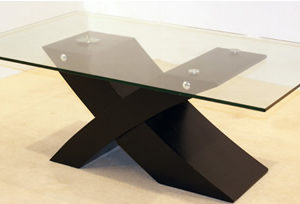 Arize Clear Glass Black Frame Large Coffee Table