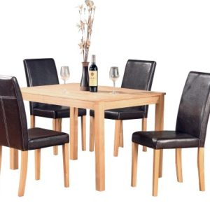Dale Ash Rectangle Table And 4 Pu Chairs