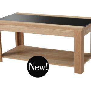 Ashon Coffee Table Real Ash Veneer Oak Finish And Black Glass