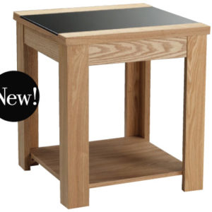 Ashlong End Lamp Table - Real Ash Veneer Oak Finish - Black Glass Centre