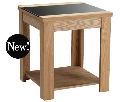 Ashlong End Lamp Table - Real Ash Veneer Oak Finish - Black Glass Centre