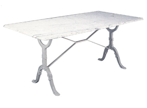 Aubray Large Marble Granite Kitchen Dining Table with Cast Iron Legs