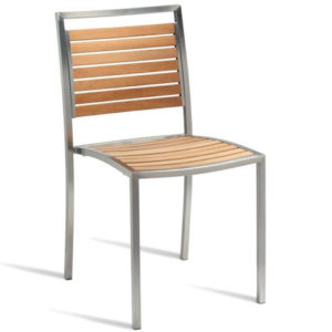 Guava Side Chair With Stainless Steel Frame And Wooden Teak Slats - Fully Assembled