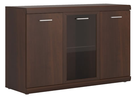 Avison 3 Door Glazed Sideboard In Dark Mahogany Melamine.