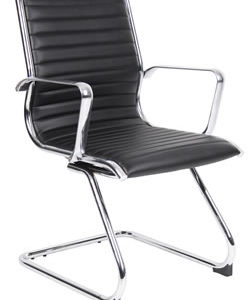 Conam Black Or White Ribbed Cantilever Office Chair With Chrome Arms And Frame