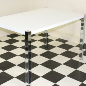 Repona Rectangular Retro Kitchen Diner Table High Gloss White Top