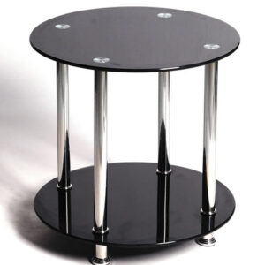Bentin Lamp Table In Black Glass