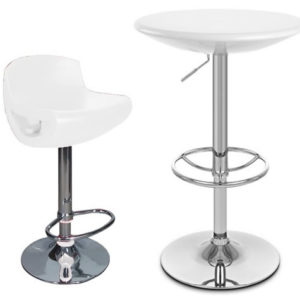 Tresoni Height Adjustable Tall White Kitchen Table With Counter Bar Stool