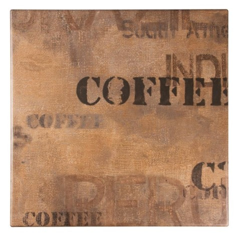 Castro Square Wood Table Top - Coffee Design Small