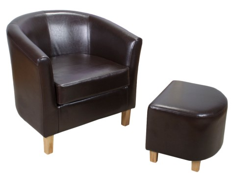 Jairo Bonded Brown Leather Tub Chair And Footstool