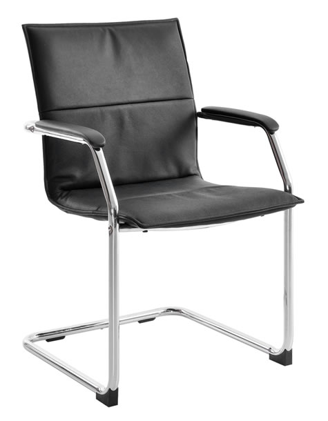 Derba Black Leather Cantilever Chair Office Or Home Chair Chrome Frame