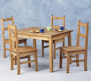 Tosan Mexican Pine Compact Kitchen Dining Table With 4 Chairs