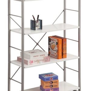 Corince White Bookcase With Grey Frame