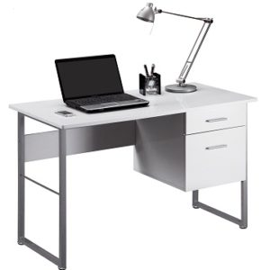 Corince White Computer Desk 2 Drawer With Open Filing