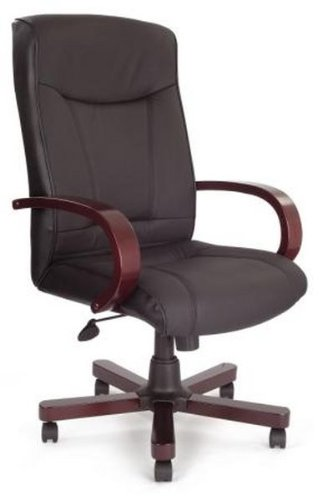 Cama Real Black Leather Office Chair - Adjustable Height - Mahogany Effect