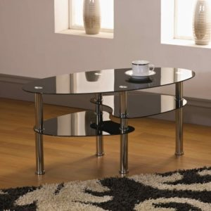 Cami Coffee Table With Shelves - Walnut/Glass/Black