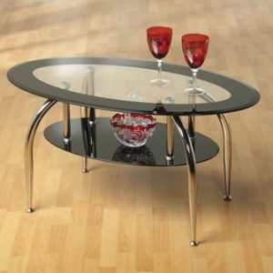 Caravalo Glass Oval Coffee Table With 2 Shelves