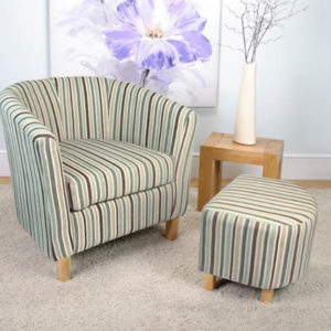 Jairo Stripe Fabric Duck Egg Blue Tub Chair Set